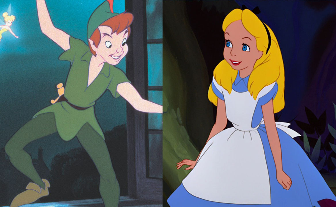 A split photo of Peter Pan and Alice as a Disney couple