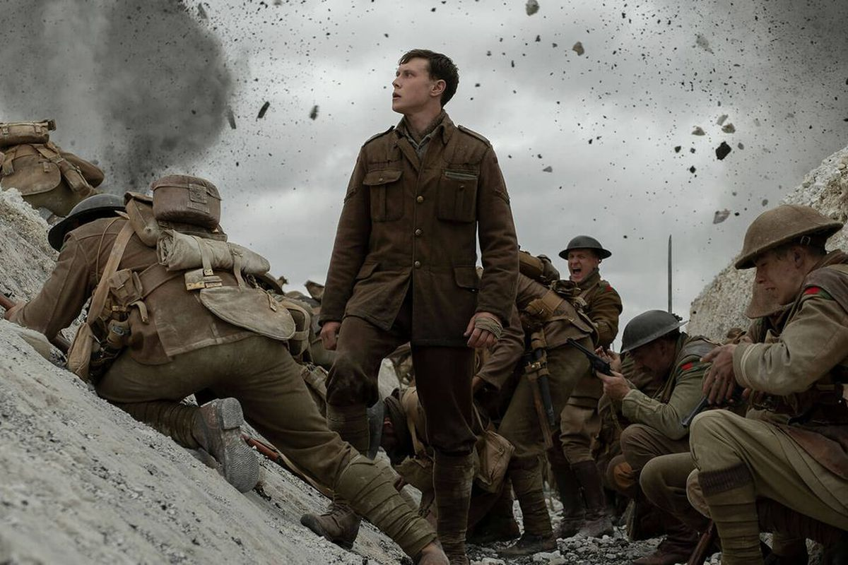 A panicked William Schofield held back by two British soldiers, a disturbing set of cinematic soundtracks accompany this look into World War I.