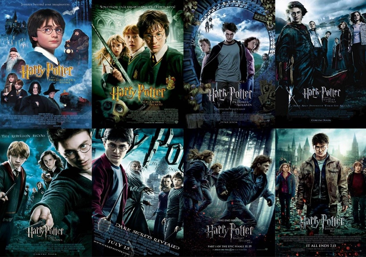 The eight movie adaptation posters form a collage each showing the main characters in prominent scenes from the movies.