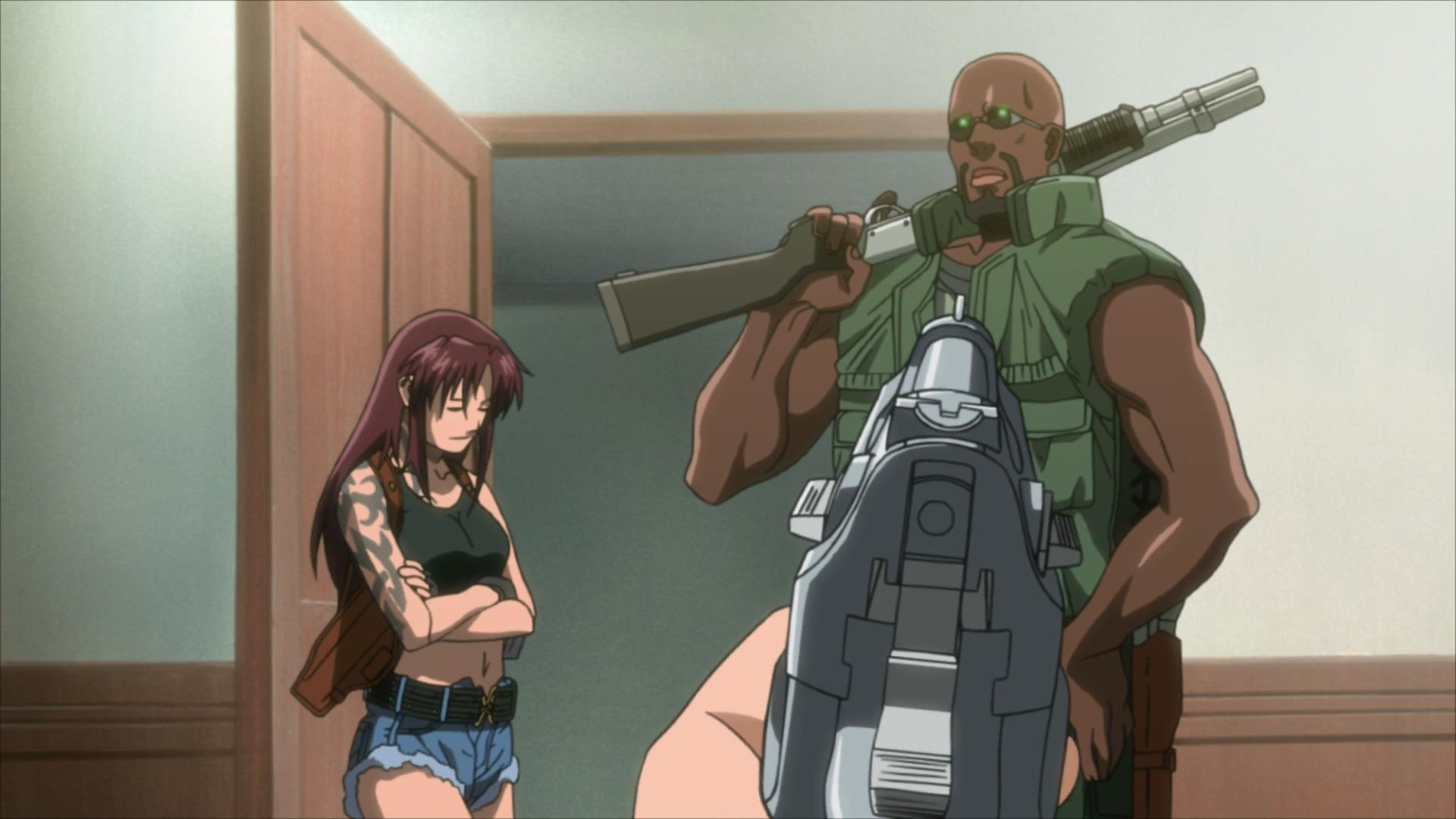 (Left to Right) Revy and Dutch casually encountering a person with a gun.
