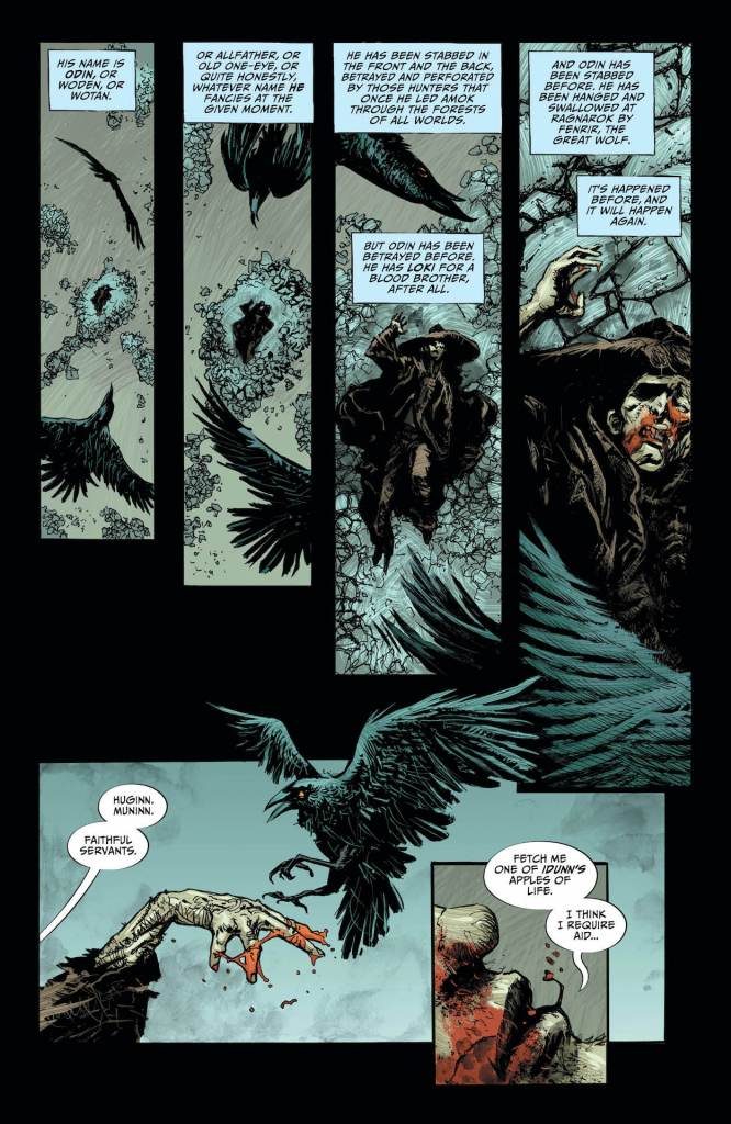 Lucifer #18, Page #1: Odin speaks with Huginn and Muninn