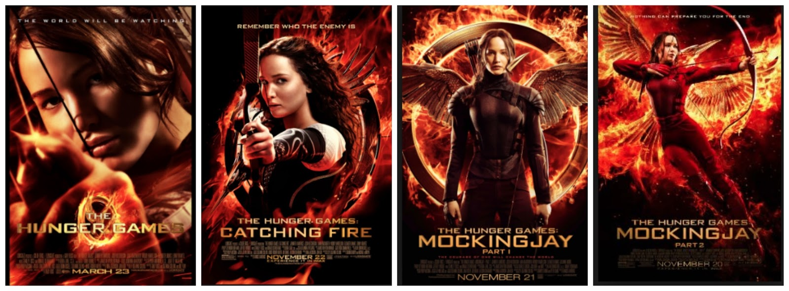 The four theatrical movie adaptation posters side-by-side each depicting the protagonist holding a bow and arrow while surrounded by fire.