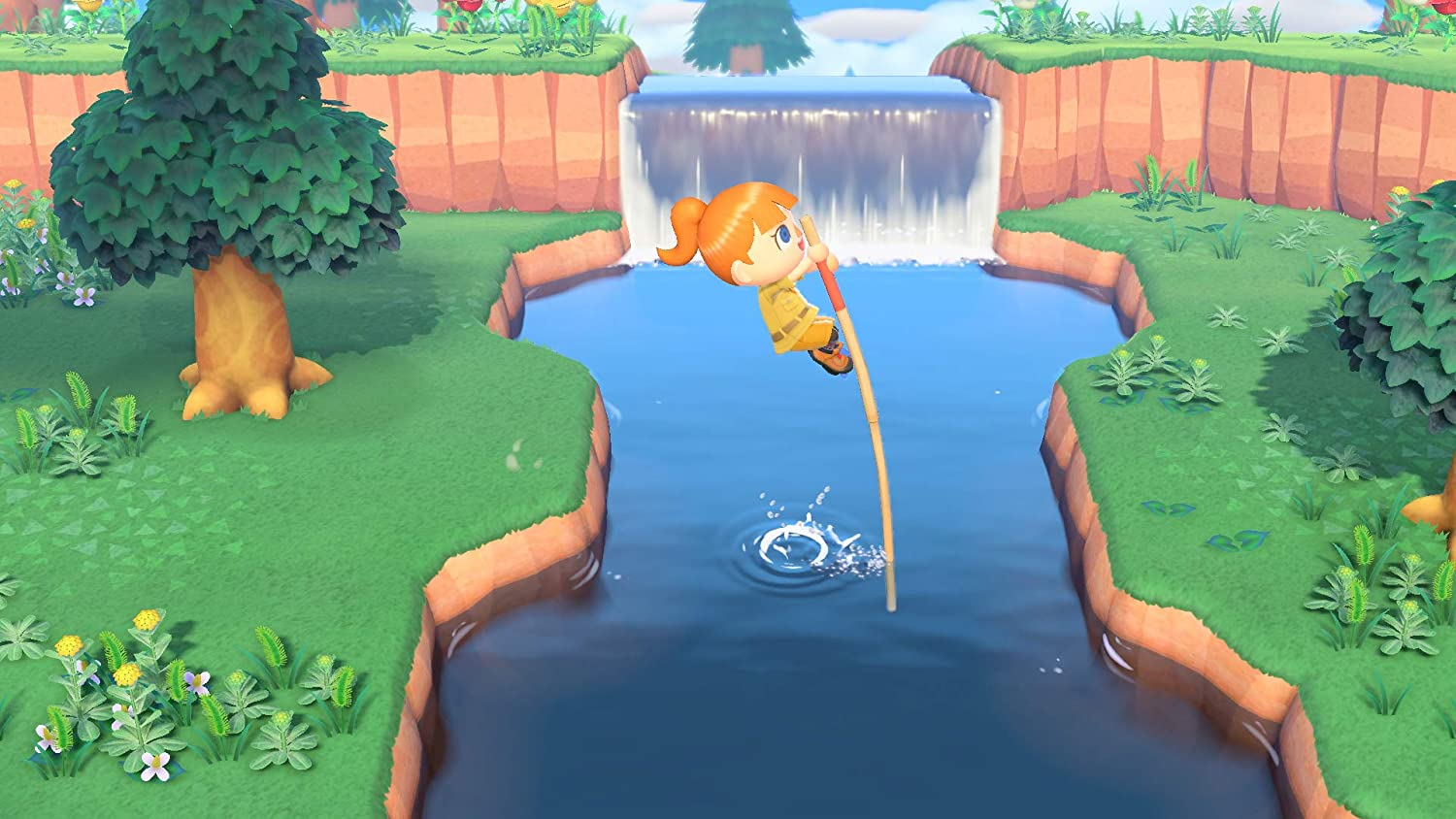 Player in Animal Crossing: New Horizons vaults over river.