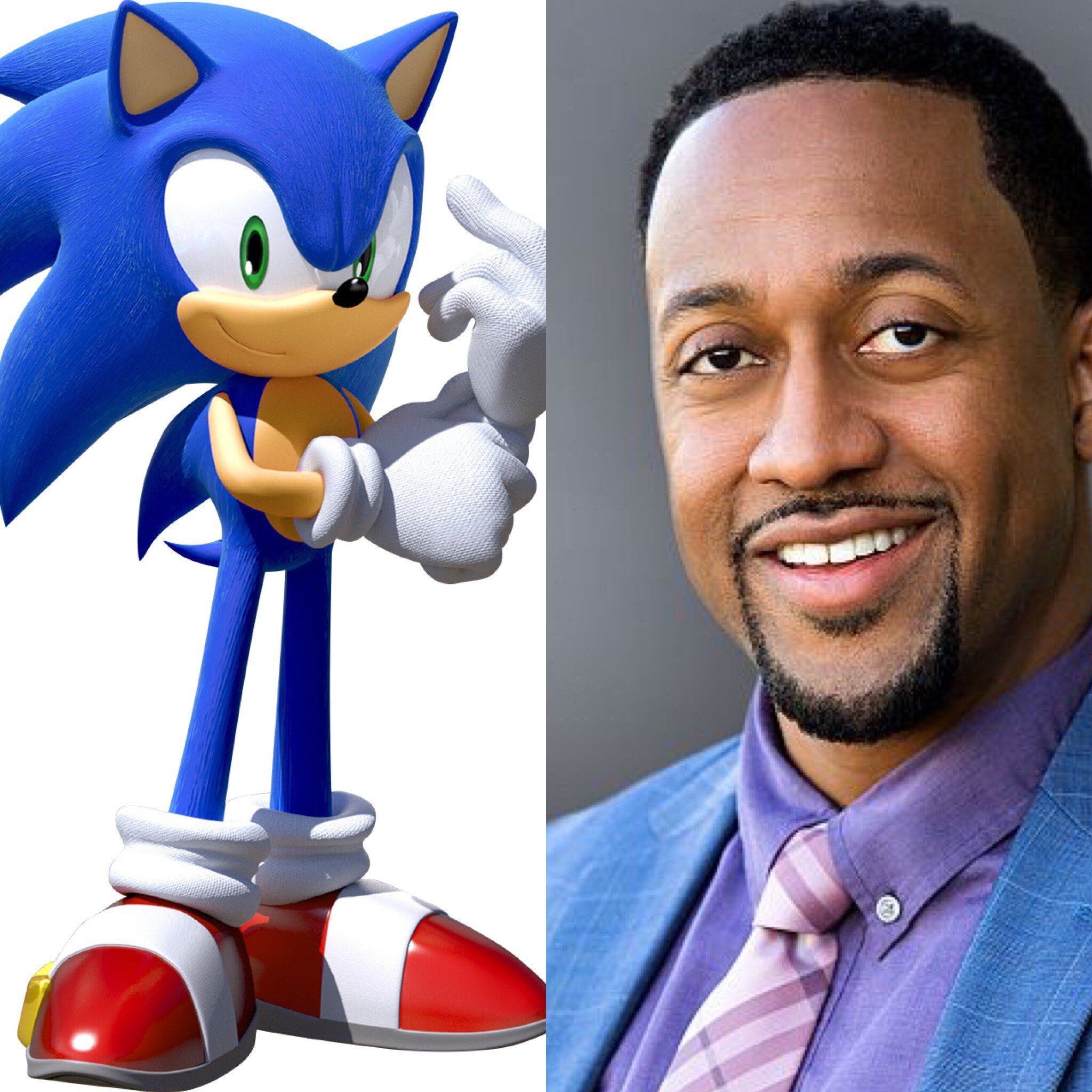 Jaleel White the voice actor next to Sonic the Hedgehog