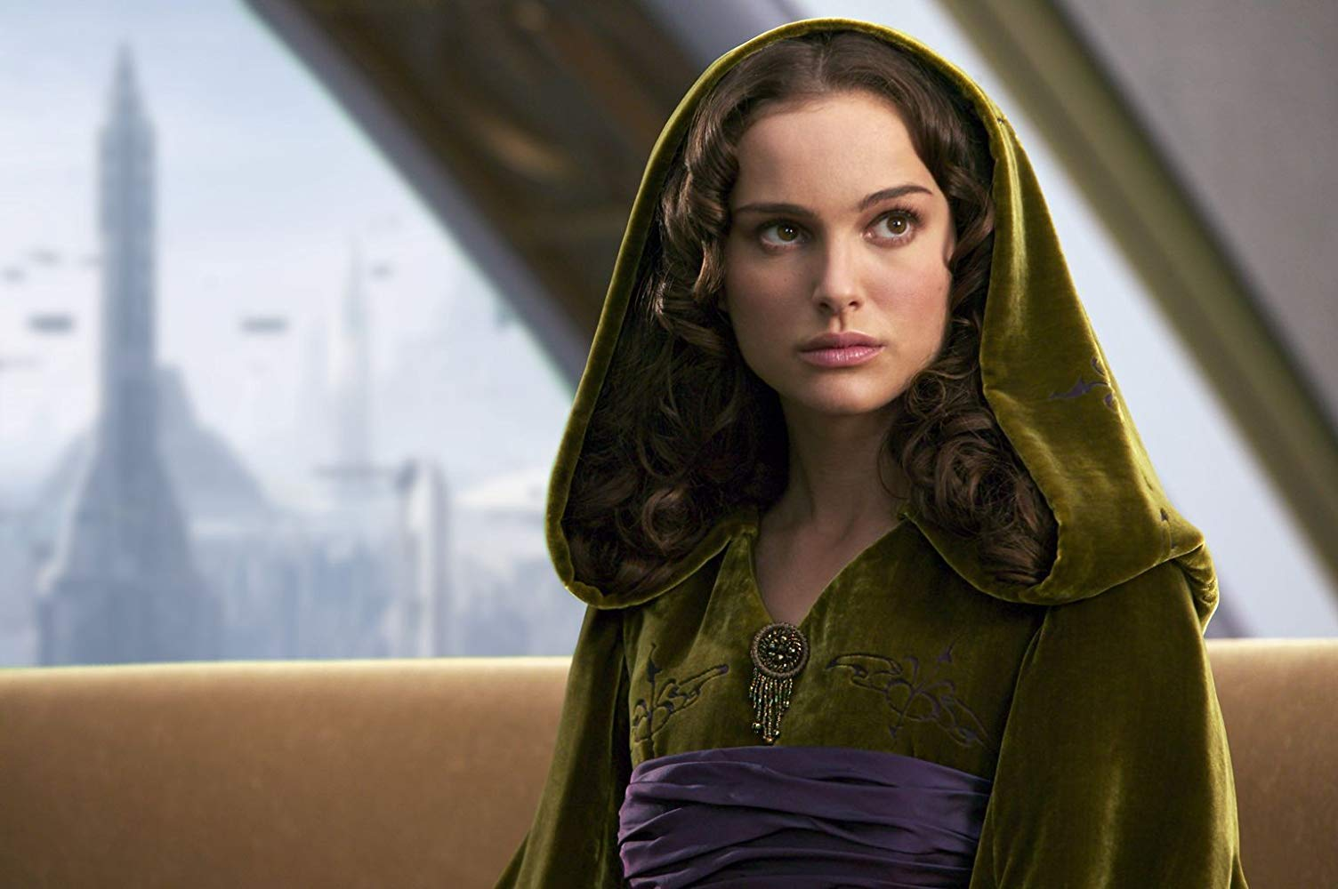 Padme Amidala wears a green dress in her apartment on Coruscant