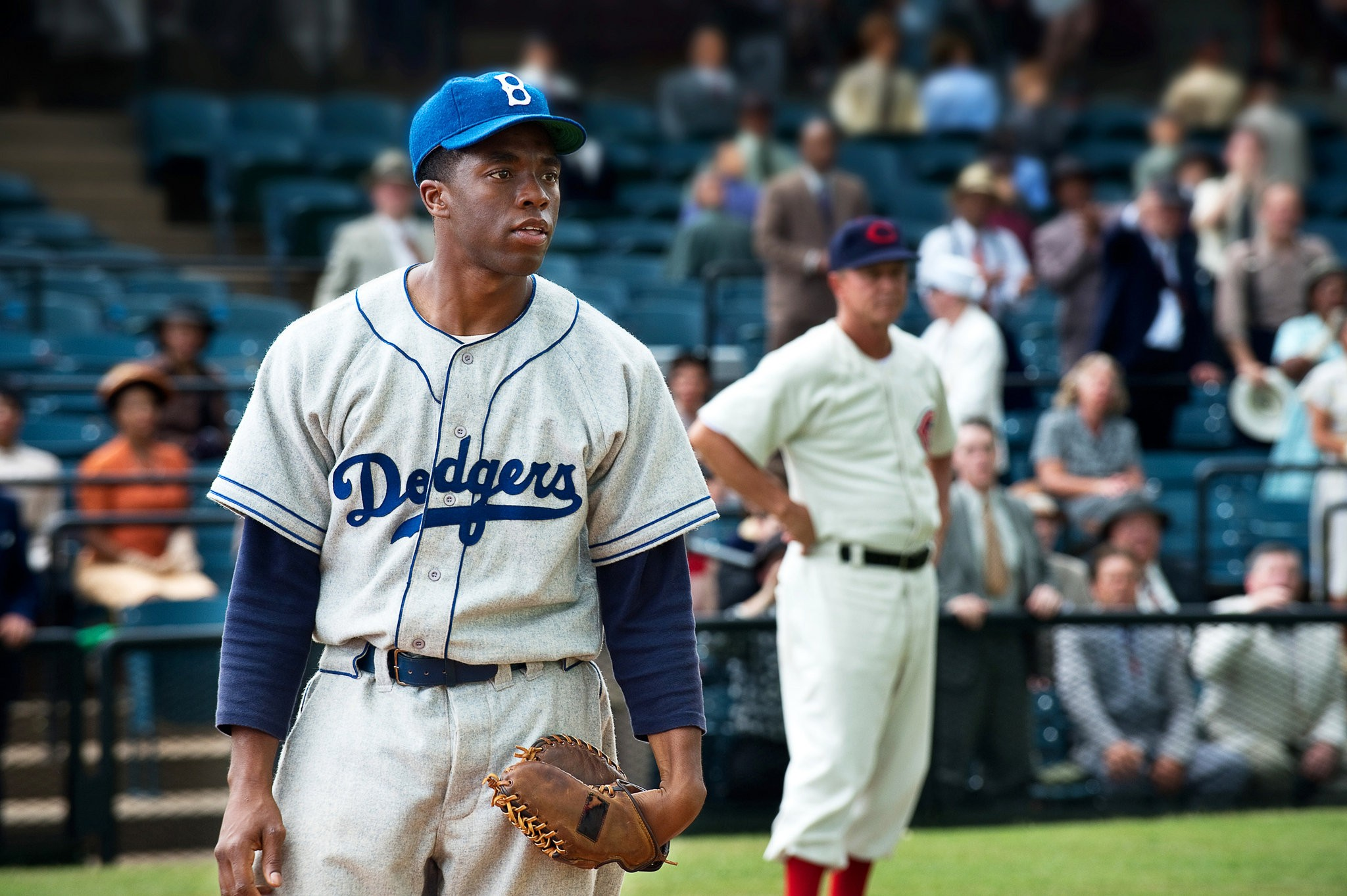 Chadwick Boseman is the influential Jackie Robinson in 42.