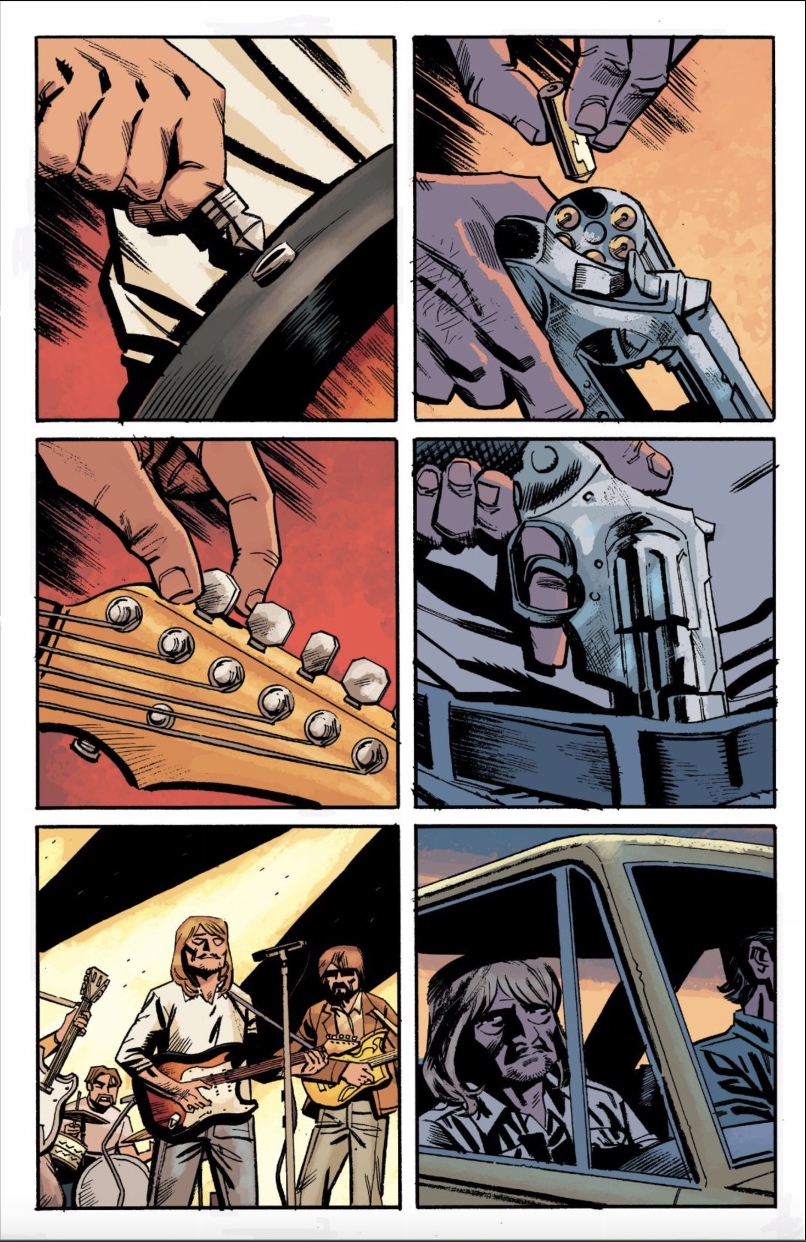 Silent page 51 of Killer Groove.  Jonny setting up his guitar on stage is paralleling with him loading a gun for a murder.
