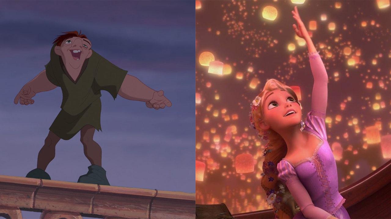 Split photo of Quasimodo and Rapunzel as a fan-made Disney couple