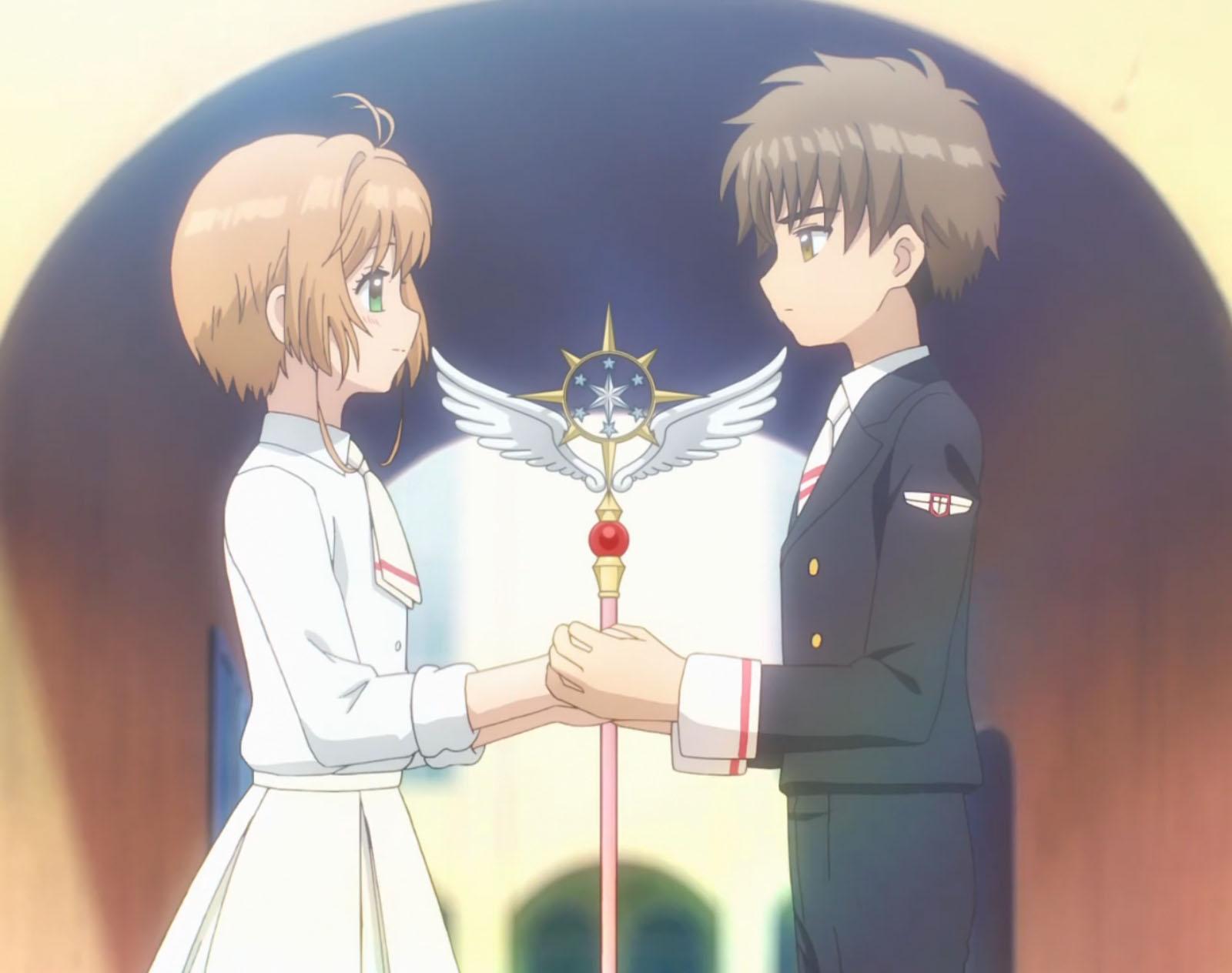 Holding her wand, from Cardcaptor Sakura.