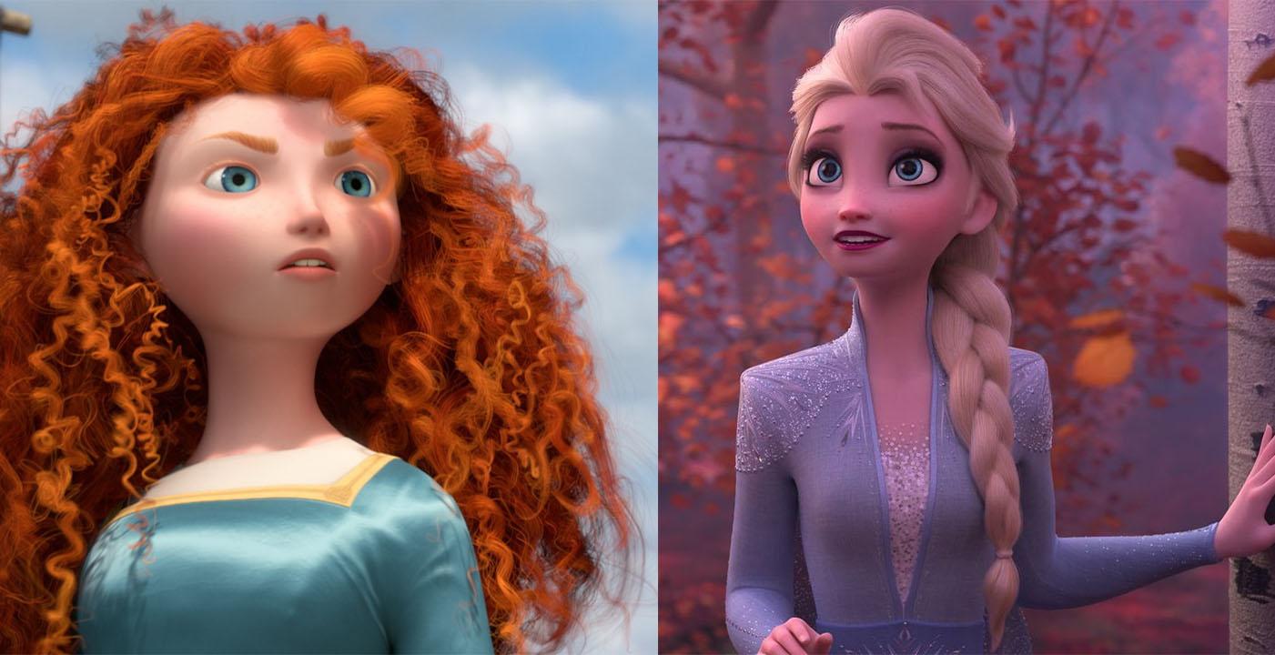 Split photo of Merida and Elsa