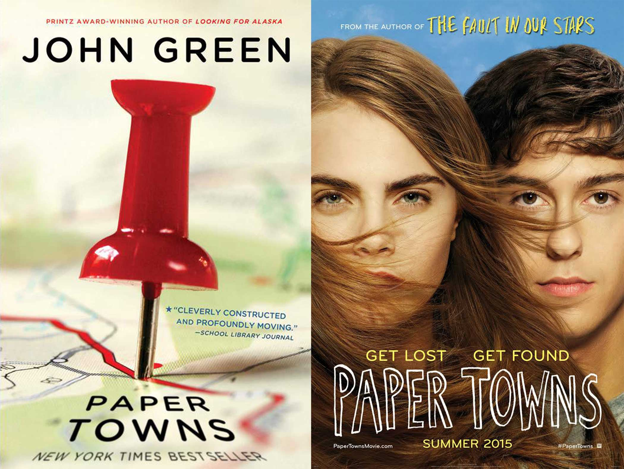 Side-by-side book cover and movie poster of YA novel Paper Towns. Book cover is a red push pin through a road map. Movie poster is two main characters facing the camera.