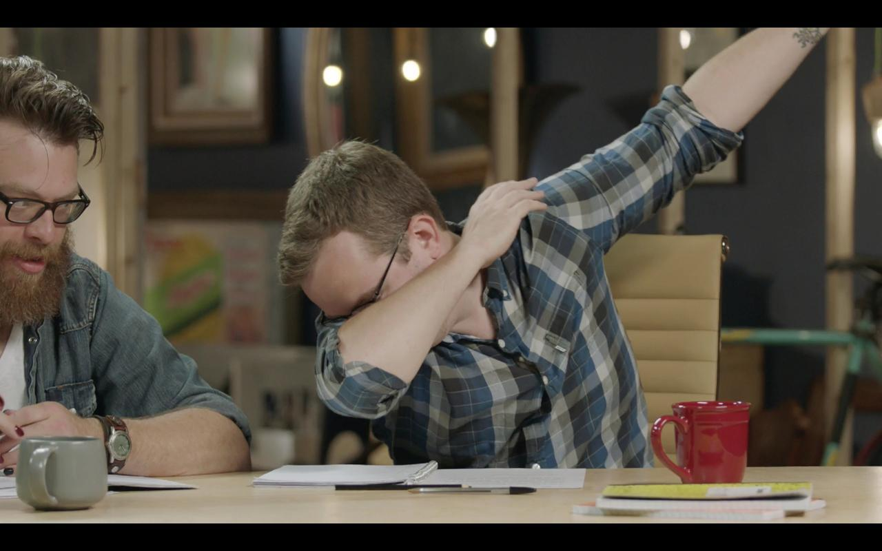 Griffin McElroy dabbing on the MBMBaM tv show on VRV