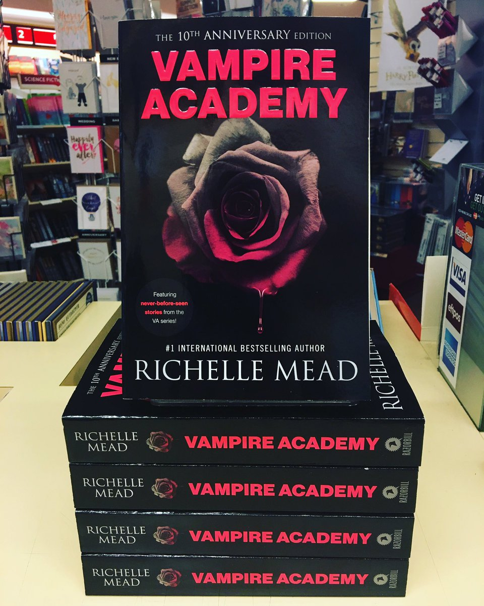 The 10th Anniversary Edition of the YA novel Vampire Academy is stacked on a display at a bookstore.