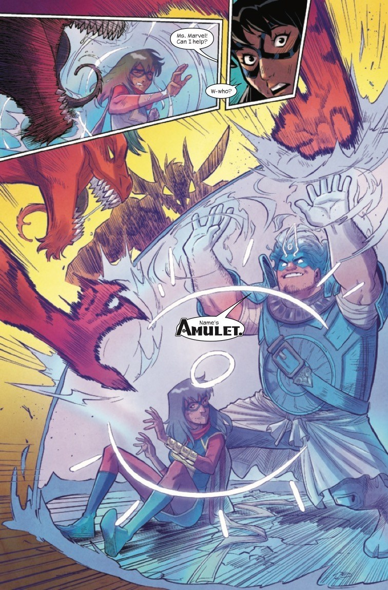 The Magnificent Ms Marvel #13: Page 14, Amulet conjures a shield to protect him and Kamala from the demons.