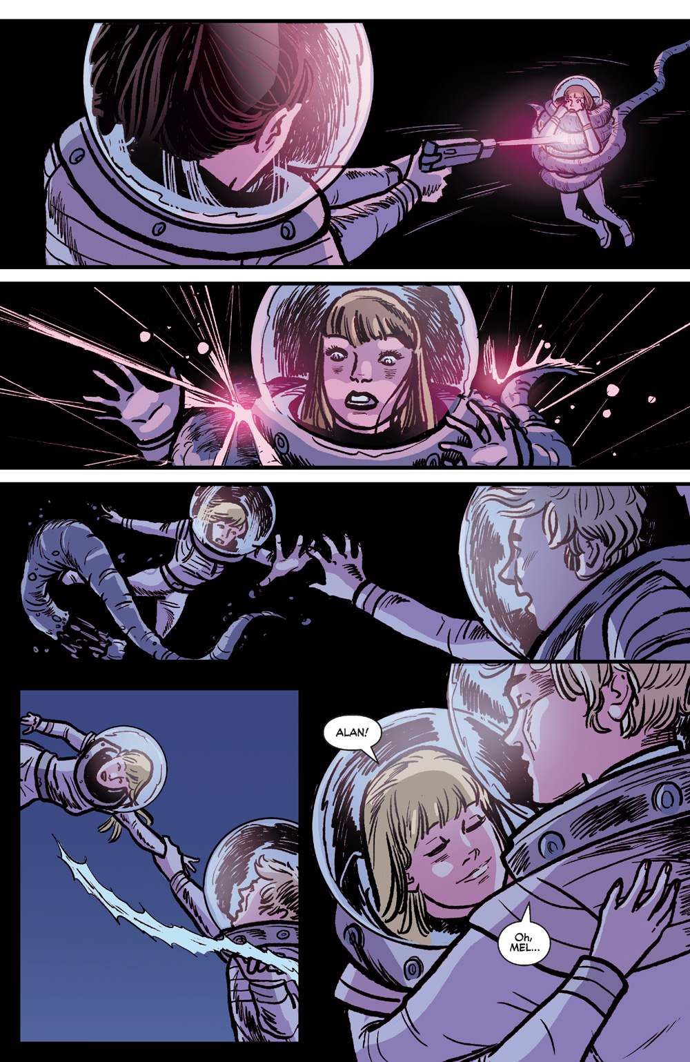 Melody being Saved by Alexandra and Alan in Josie and the Pussycats in Space #5.