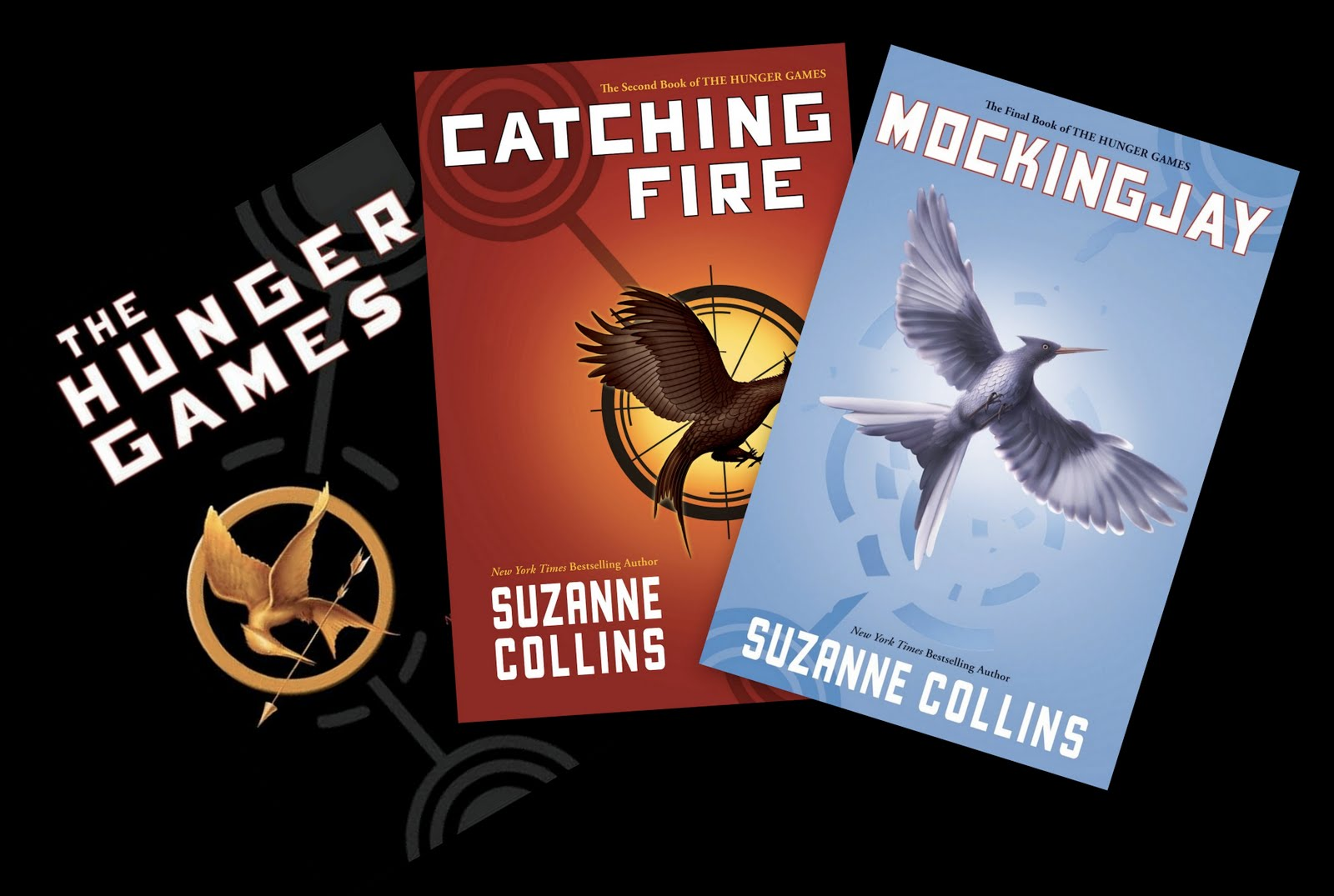 Dystopian novel #1: The Hunger Games trilogy by Suzanne Collins book cover.