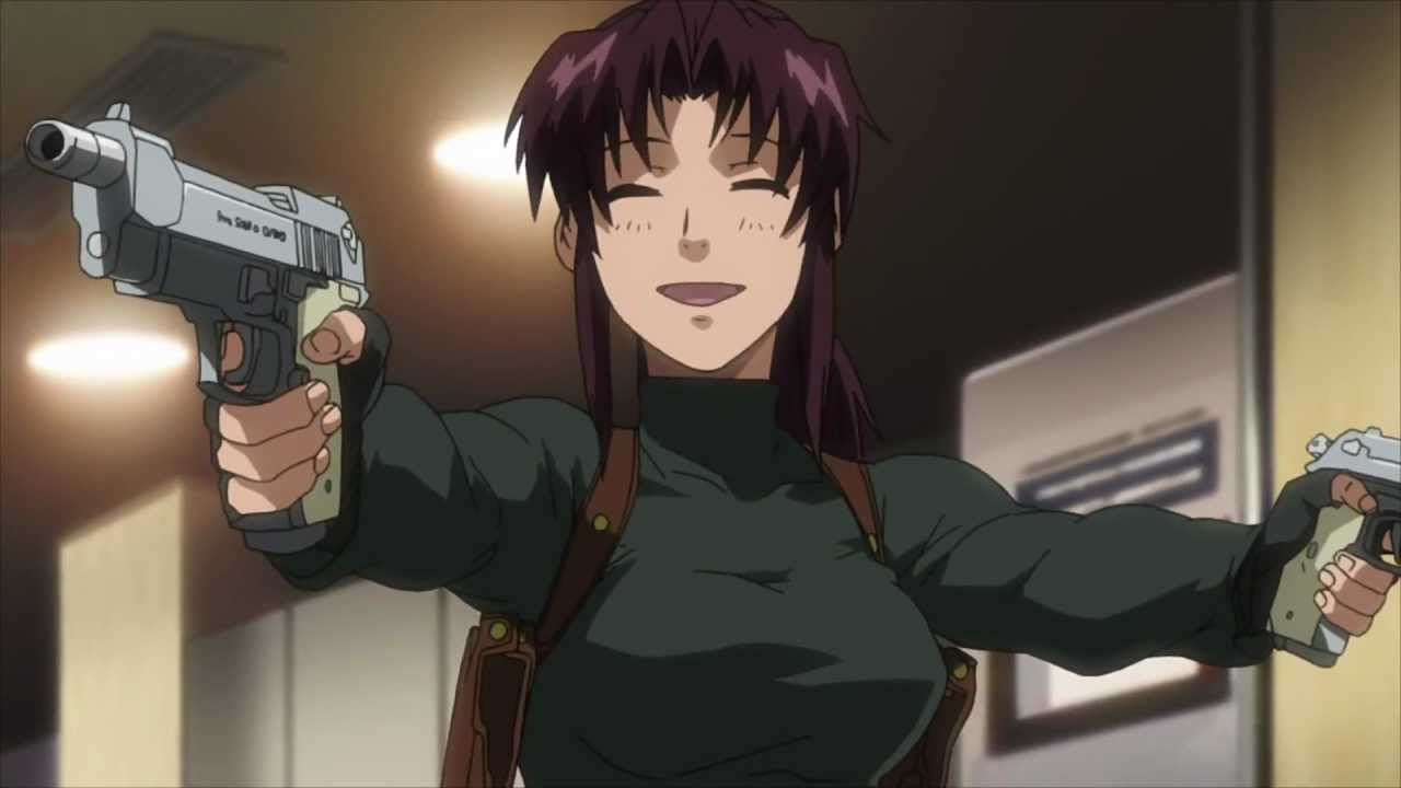 Revy smiling happily while holding two pistols; being her cute and deadly self, empowering women with this attitude.