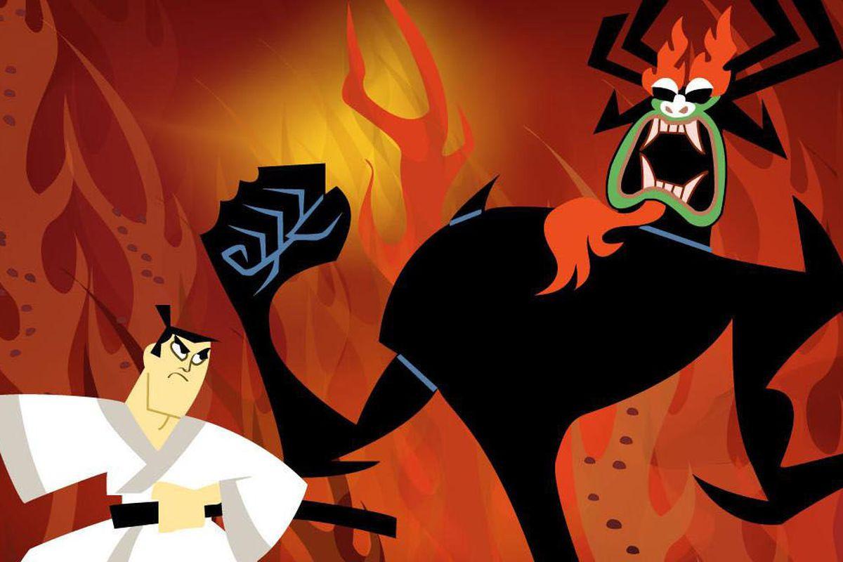 Aku destroys Jack's village mercilessly.