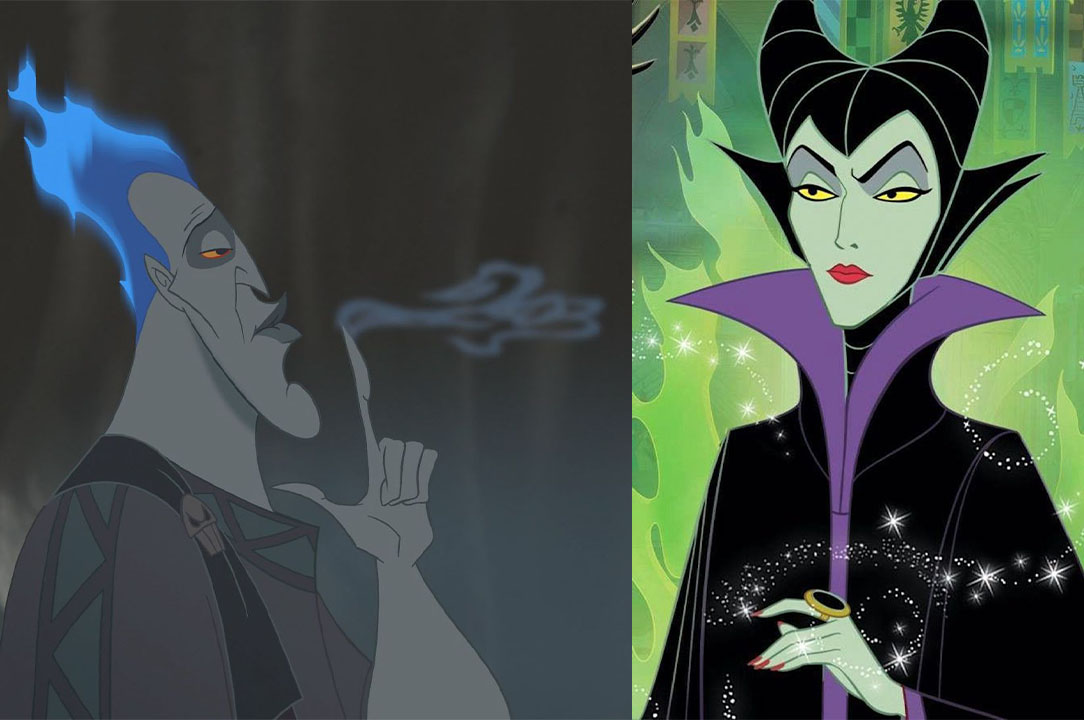 Split photo of Hades and Maleficent as a fan-made Disney couple