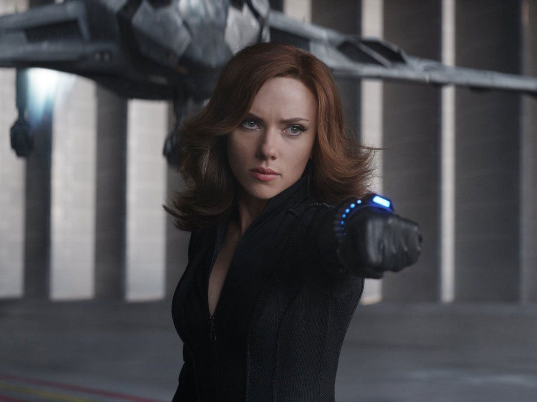 Scarlett Johansson as Natasha Romanov in Captain America: Civil War