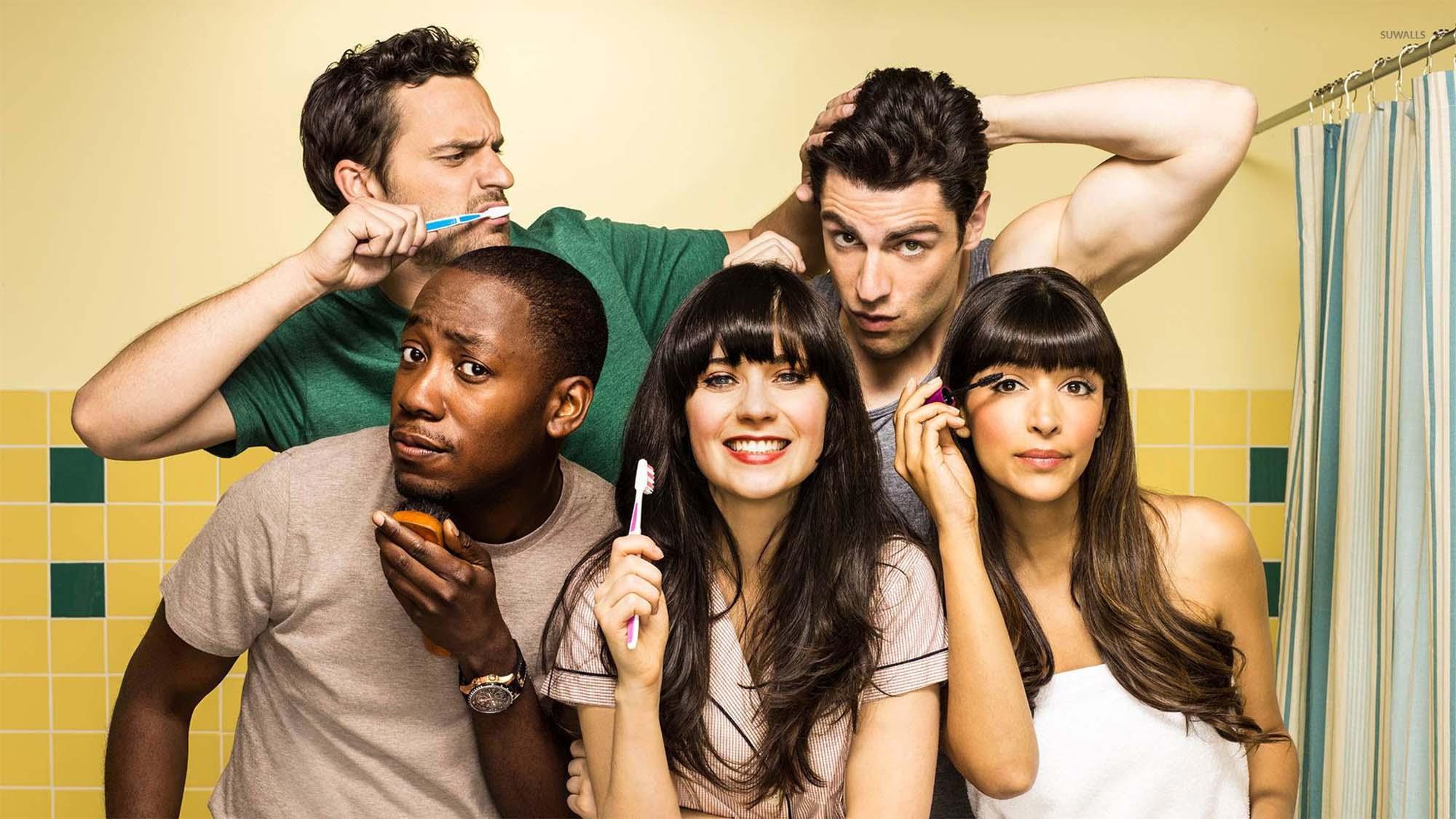 New Girl's friendship quintet Nick, Schmidt, Winston, Jess and Cece cram into the bathroom.