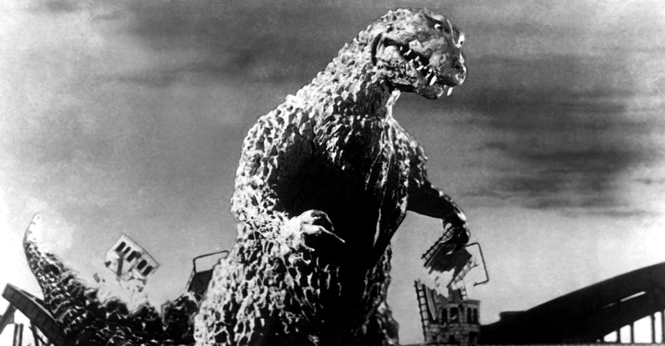 Monster: Godzilla, in the original 1956 film, terrorizing a city.
