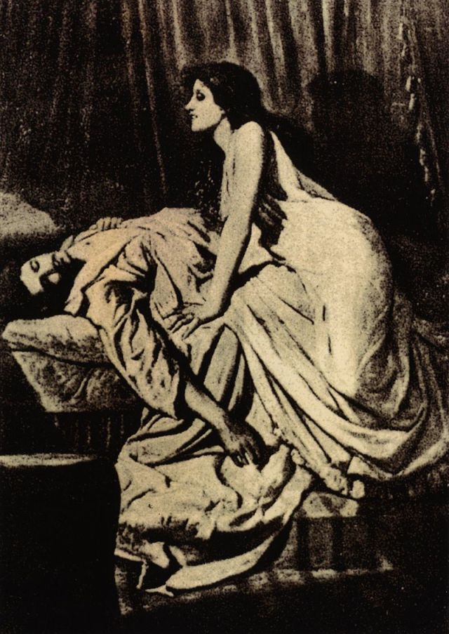 A vampire woman sitting on top of her victim from the novel, The Vampire by: Philip Burne-Jones.