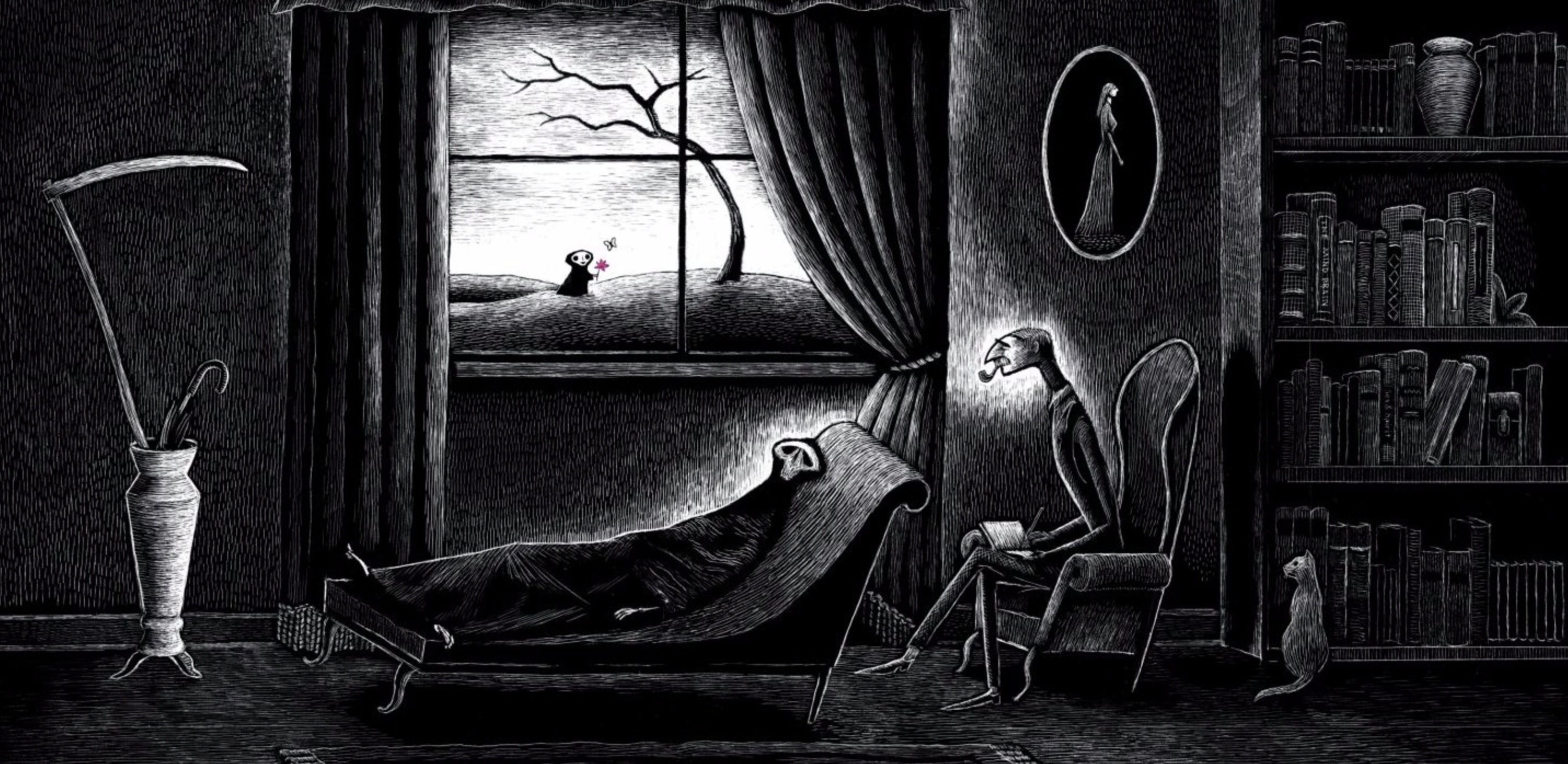 Illustration of the grim reaper on a therapy sofa speaking to a psychoanalyst .