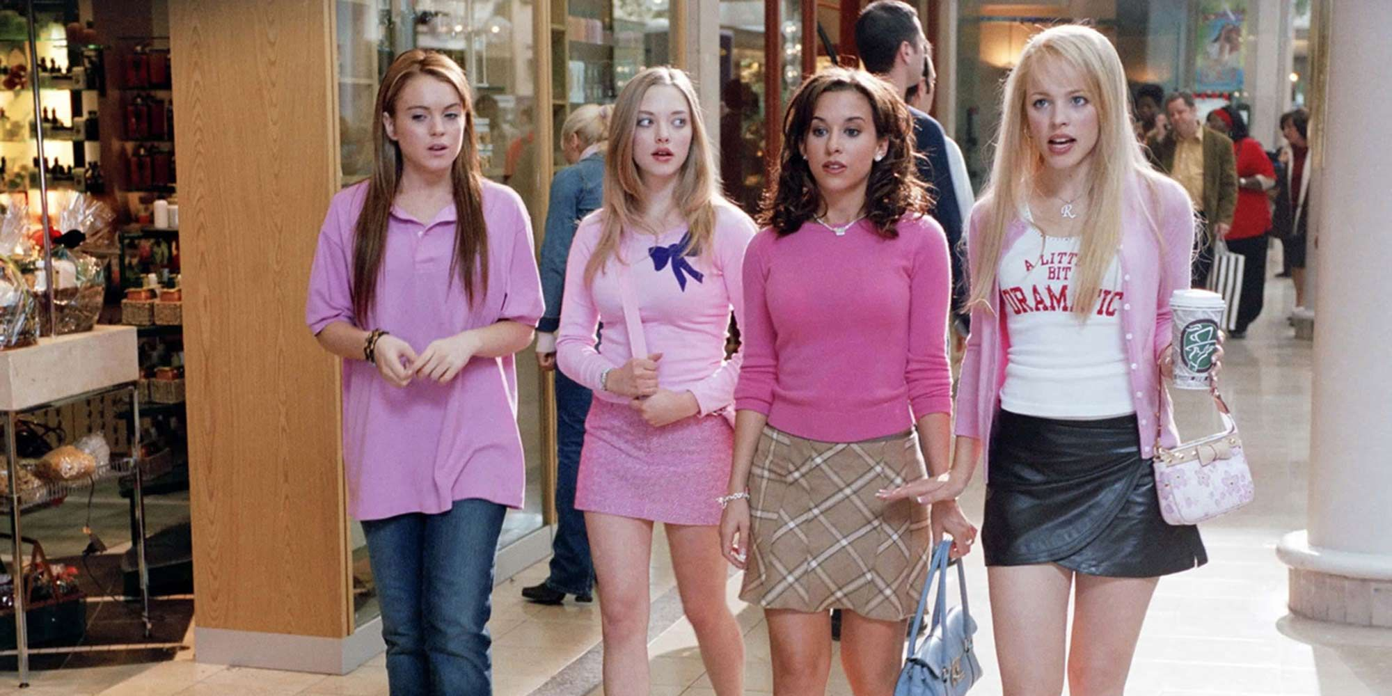 Cady and the Plastics (in their friendship) walk in a mall (Mean Girls).