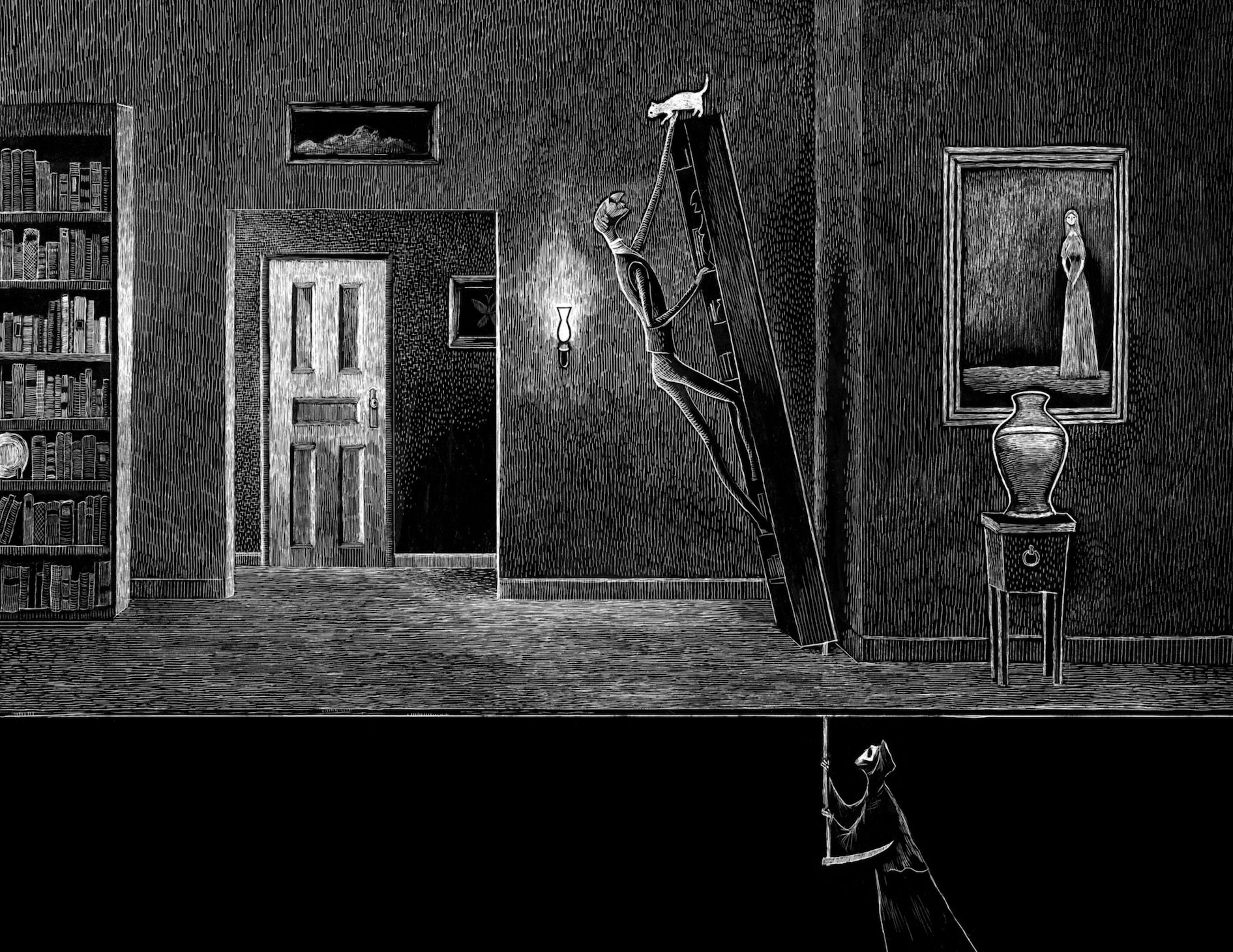 The Psychoanalyst is climbing on his bookshelf to reach his cat while Death is under the floorboards.  Death is pushing the handle of his scythe up through a hole in the floor to tip the bookshelf over.