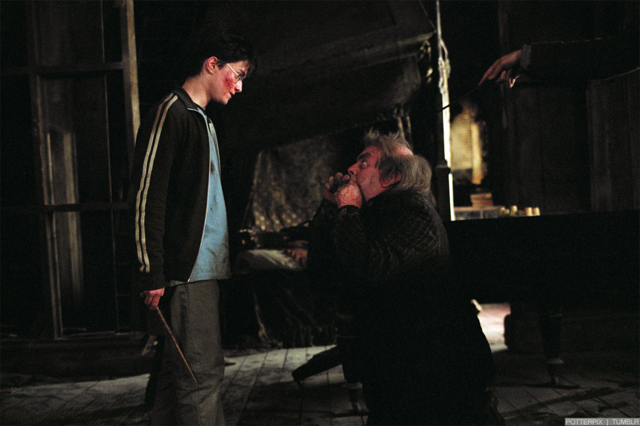 Wormtail kneels before Harry, begging for mercy (Harry Potter).