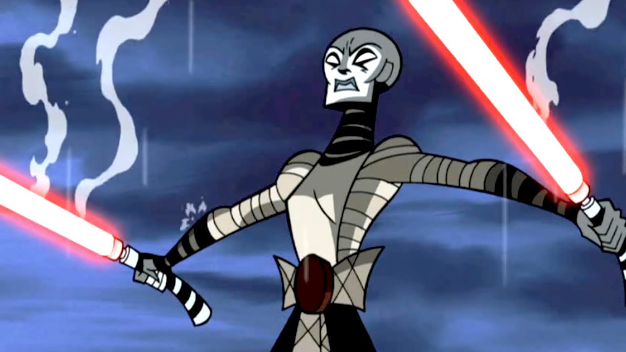Ventress waits for Anakin in the midst of their duel.