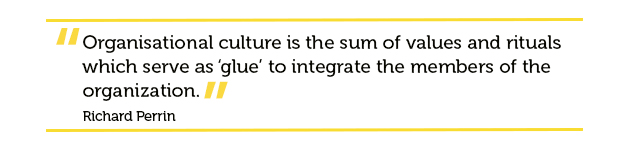 Quote about organisational culture being the sum of all company values
