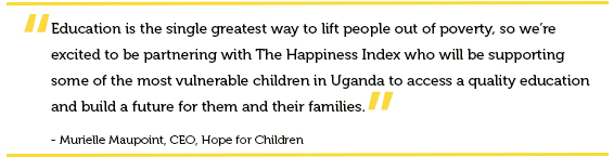 Quote from Hope for children CSR partnership with The Happiness Index