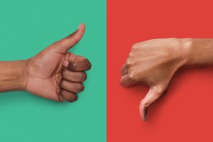 Black hands with thumb up and down gestures 4 day work week, engagement catalyst and happiness or marketing myth