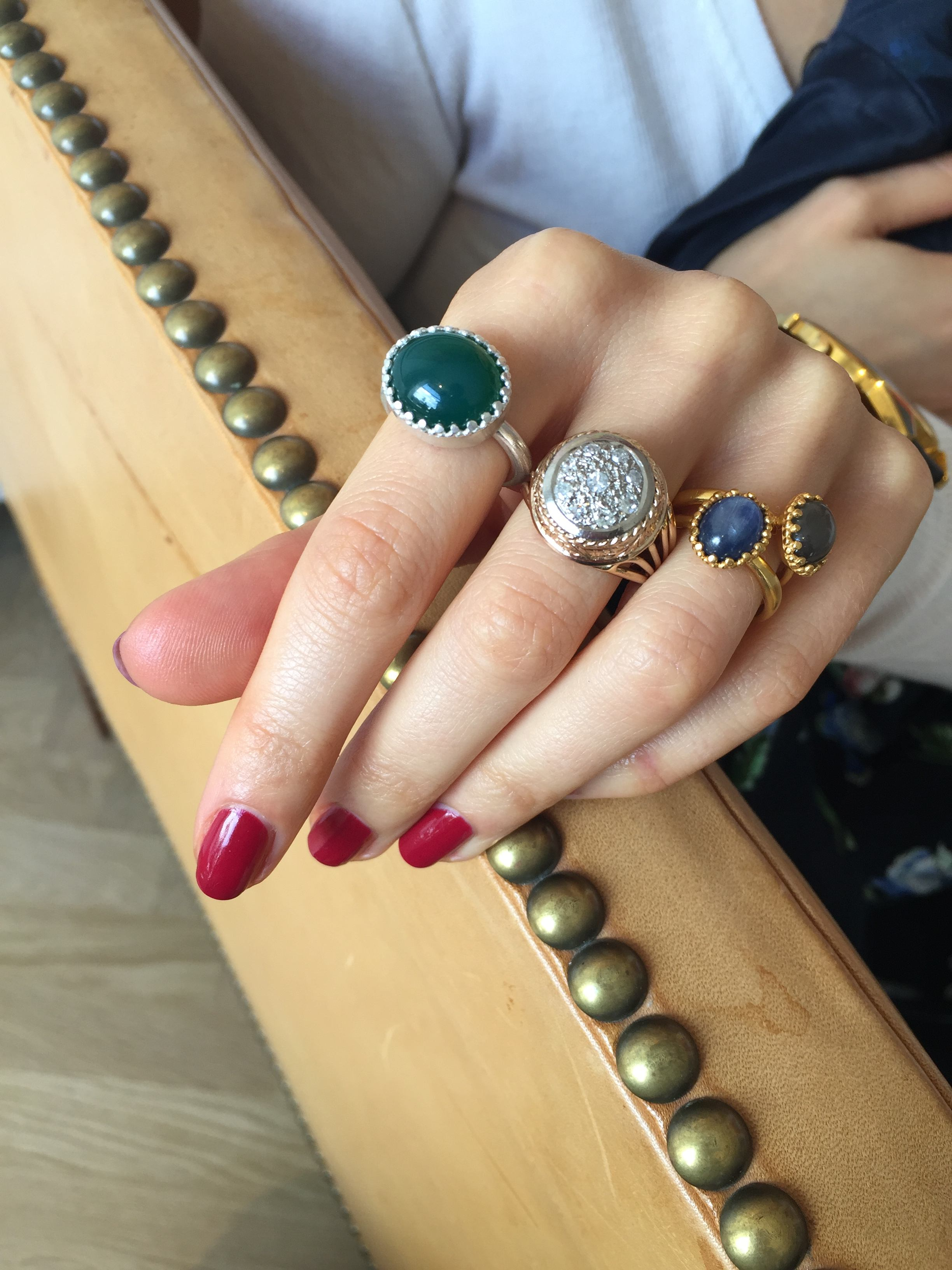 Vintage jewellery styling, mixing new and vintage Bruun Rasmussen, DyrbergKern, Carré Jewellery