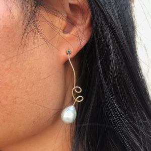 MaryLou Earrings  Fil d'or & Fil d'argentFil d'or Earring - Emerald - Tahiti Pearl