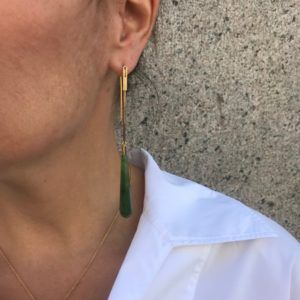Rebekka Notkin Earrings  DECODECO earhangers with pendant, Jade - Long