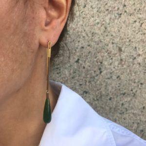 Rebekka Notkin Earrings  DECODECO earhangers with pendant, jade - Long