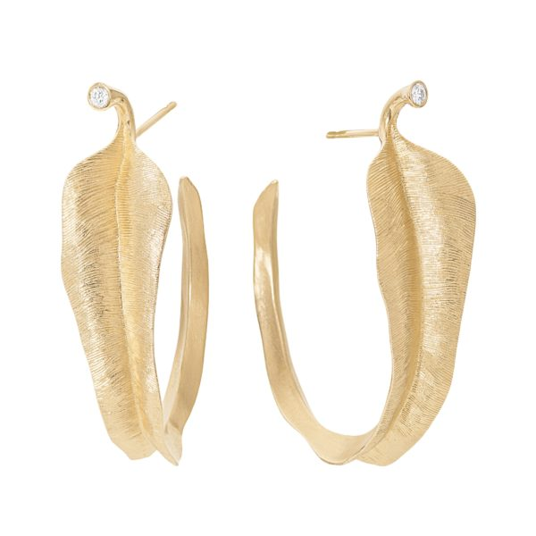Ole Lynggaard Copenhagen Earrings Hoops  Large Leaves earrings