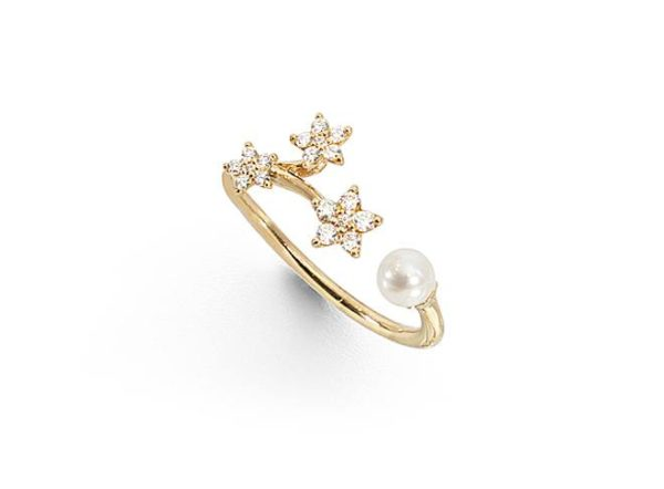 Ole Lynggaard Copenhagen Rings  Shooting Star ring with pearl and diamonds
