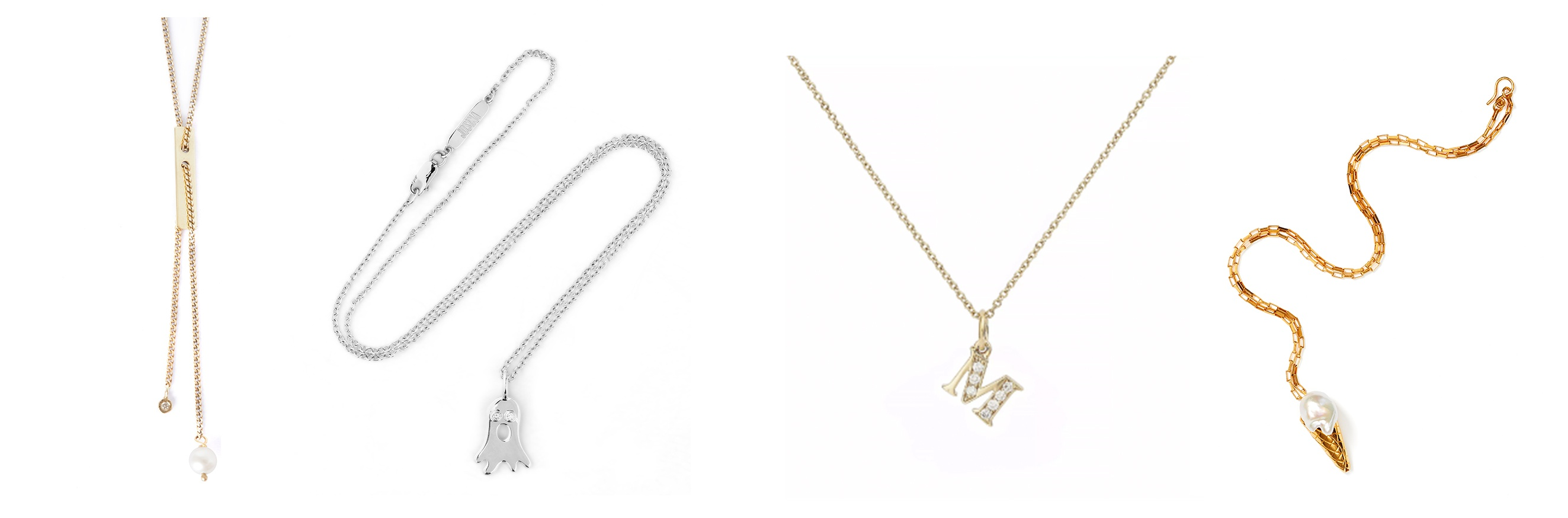 Necklaces with different pendants in gold and silver