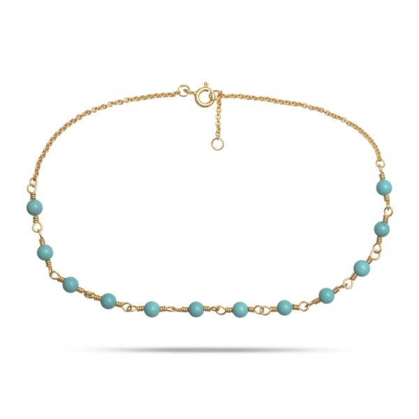 Carré Jewellery Anklets  CARRÉ ARCHIVEGoldplated Anklet w. turquoise