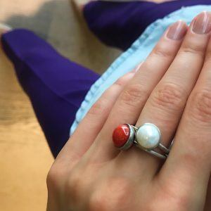 Dulong Fine Jewelry Rings  PacificSmall Pacific ring with coral