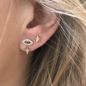 Line&Jo Earrings  RAY OF EYESMISS EYE gold diamond sapphire