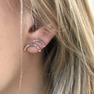 Line&Jo Earrings  TUTTI FRUTTIMISS ERAINBOW ONE gold multicoloured sapphire
