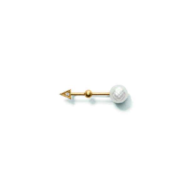 Line&Jo Earrings  PEARLMISS EAST gold diamond white facetted pearl