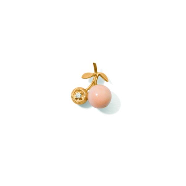 Line&Jo Earrings  TUTTI FRUTTIMISS ECHERRY EAR STUD gold diamond pink coral
