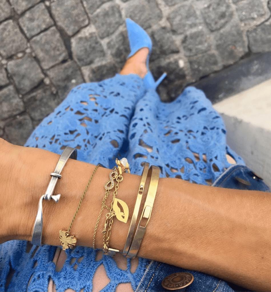 Trendy bracelets stacked