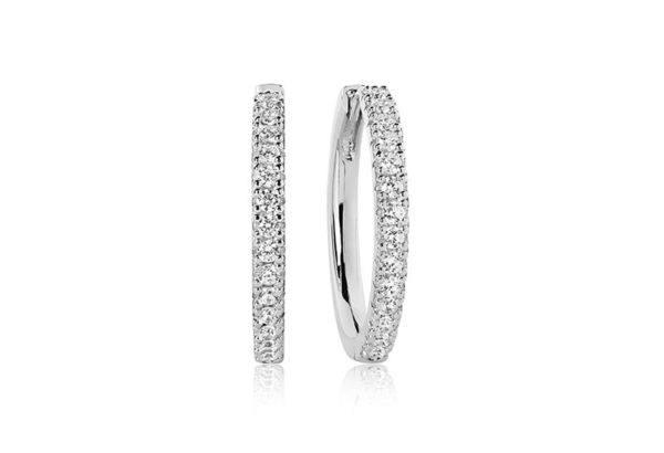 Sif Jakobs Jewellery Earrings Hoops  ELLERAEarrings Grande with white zirconia.